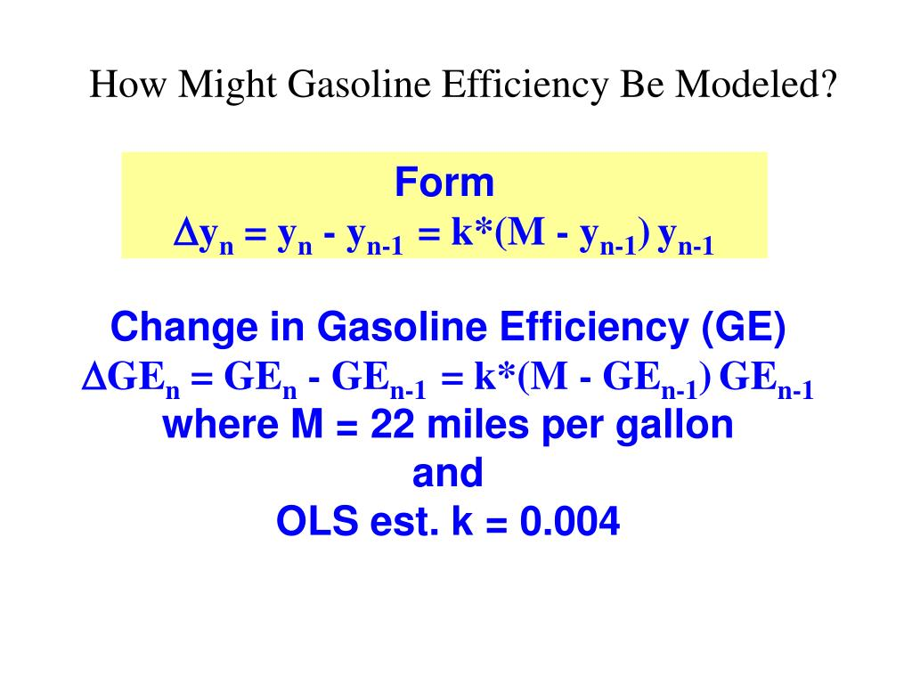 How Might Gasoline Efficiency Be Modeled?