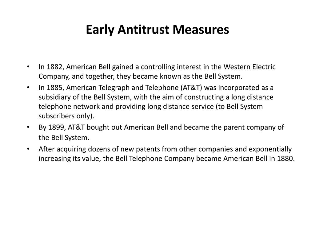 Early Antitrust Measures
