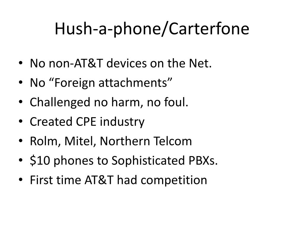 Hush-a-phone/Carterfone