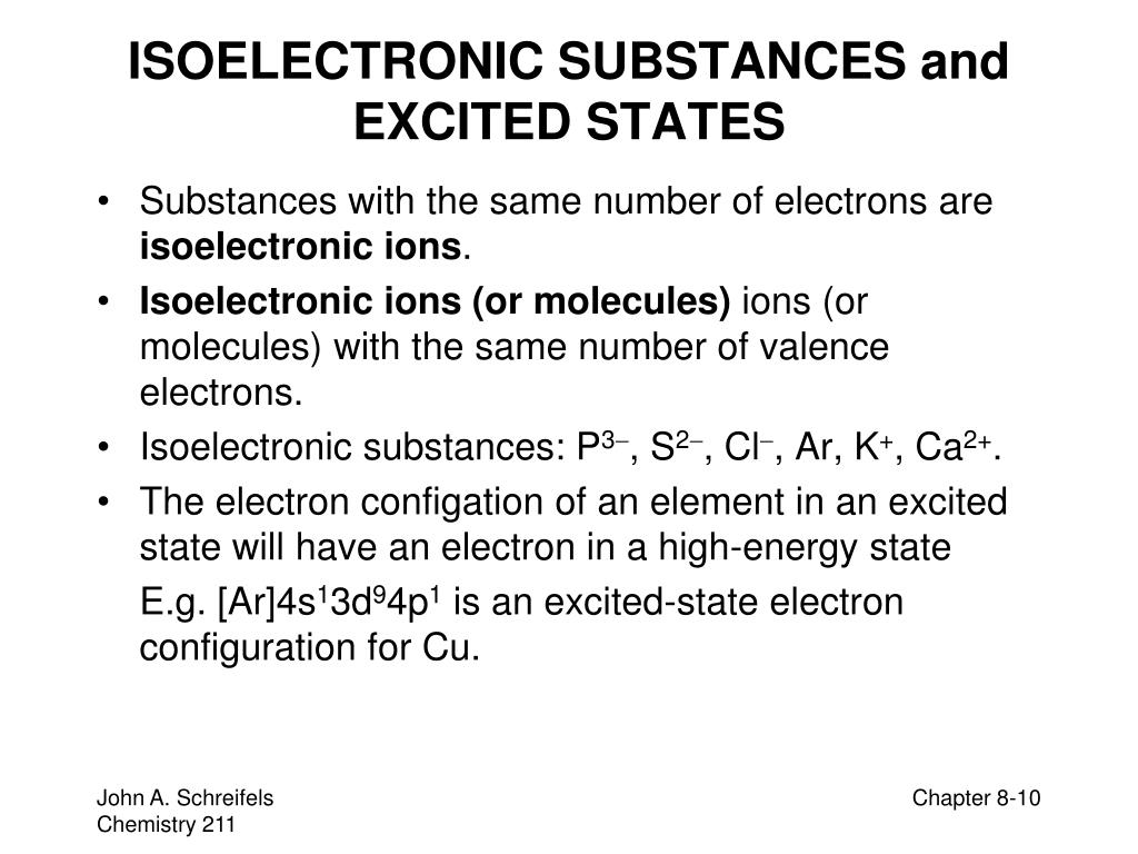 ISOELECTRONIC SUBSTANCES and EXCITED STATES