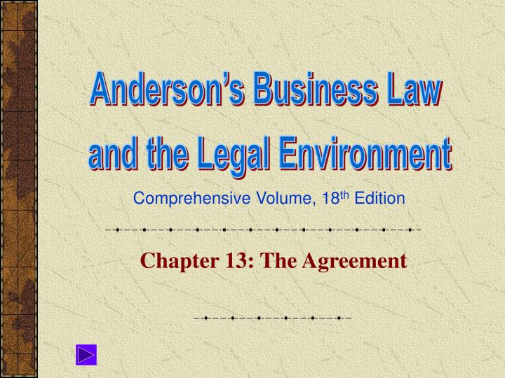 Chapter 13 the agreement