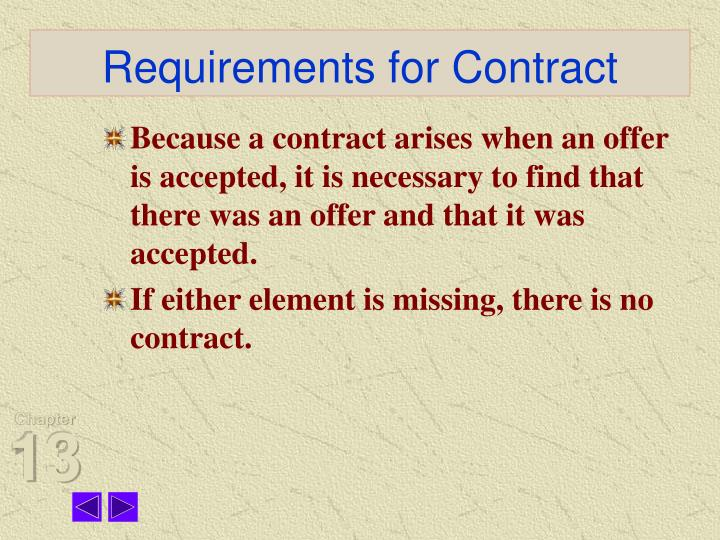 Requirements for contract