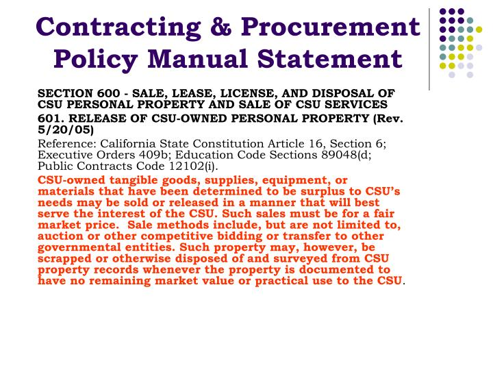Contracting & Procurement Policy Manual Statement