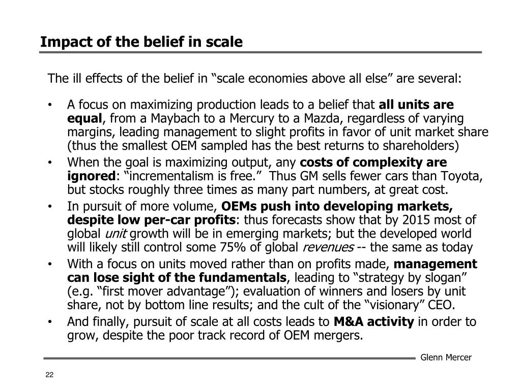 Impact of the belief in scale