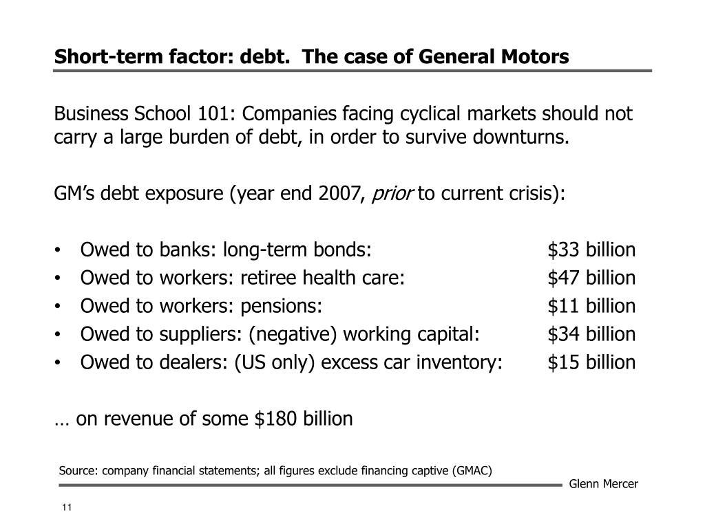 Short-term factor: debt.  The case of General Motors