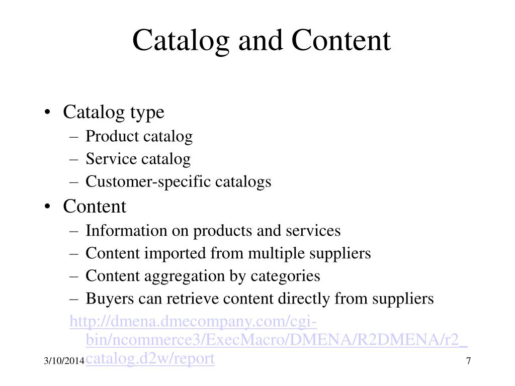 Catalog and Content
