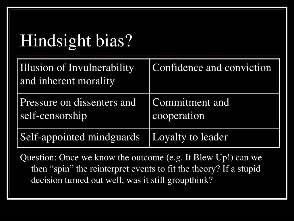 Hindsight bias?