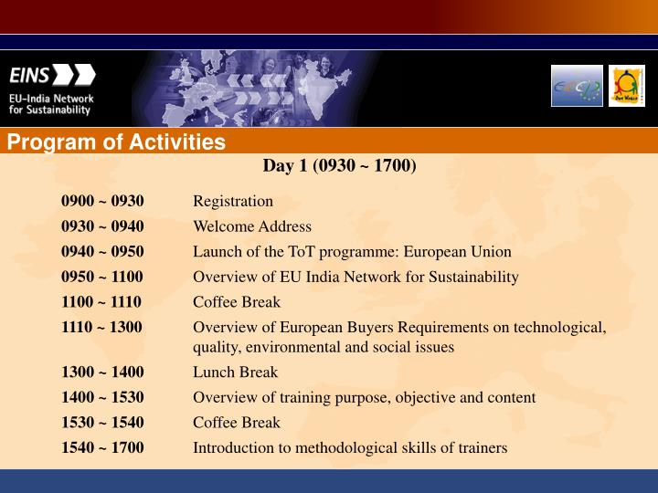 Program of Activities