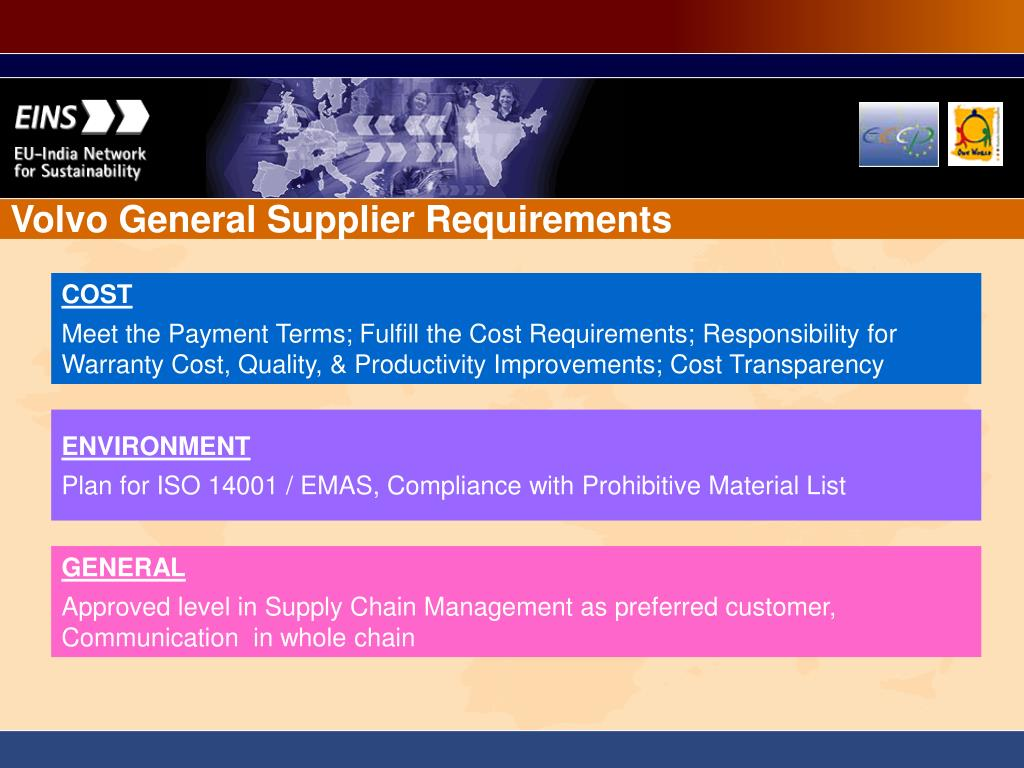 Volvo General Supplier Requirements