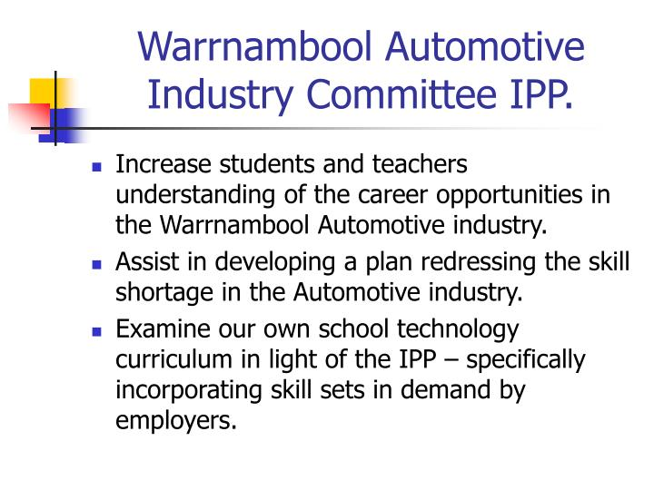 Warrnambool automotive industry committee ipp3