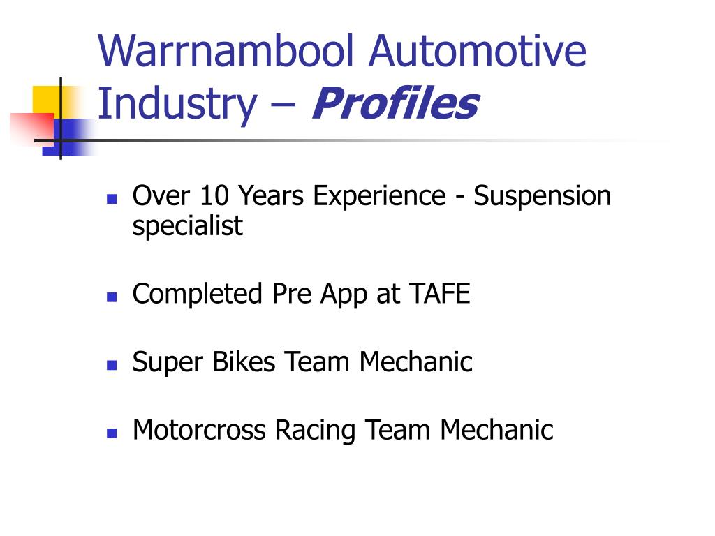 Warrnambool Automotive Industry –