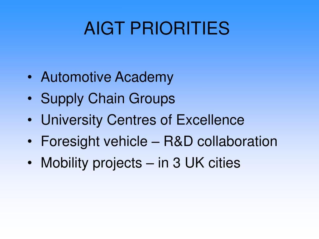 AIGT PRIORITIES