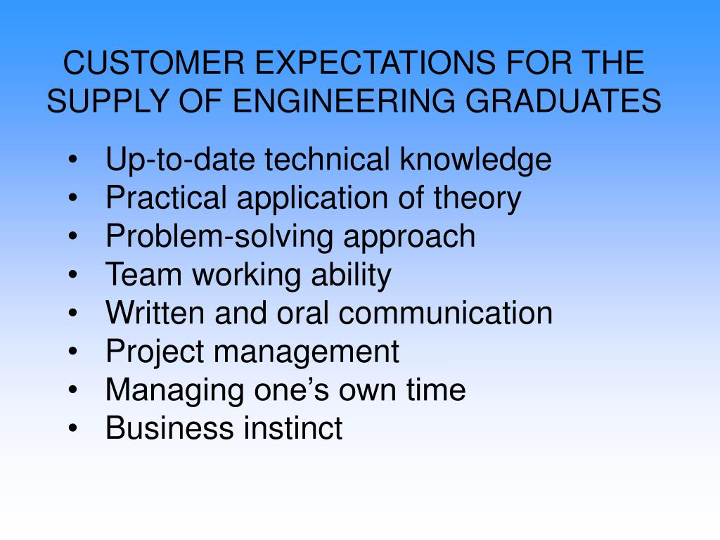 CUSTOMER EXPECTATIONS FOR THE SUPPLY OF ENGINEERING GRADUATES
