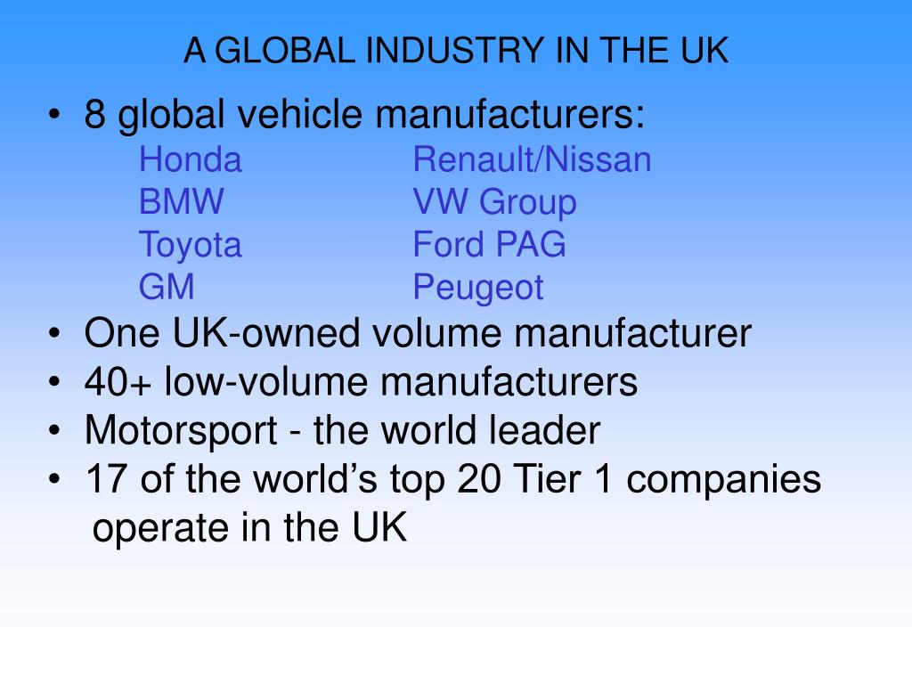 A GLOBAL INDUSTRY IN THE UK