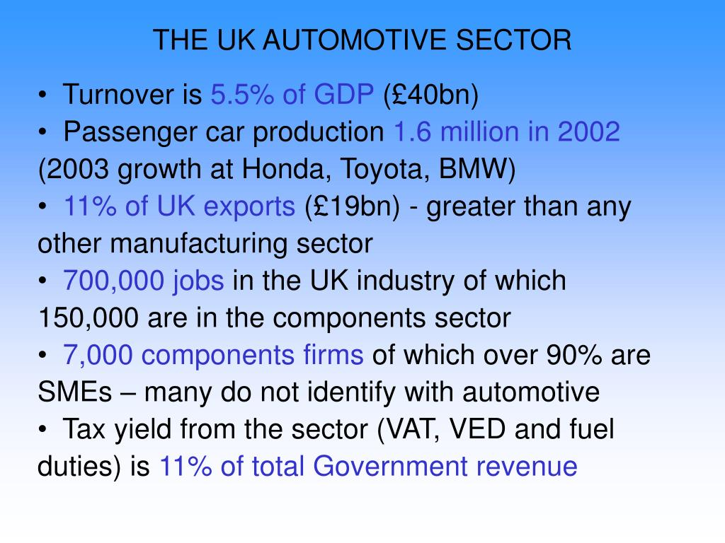 THE UK AUTOMOTIVE SECTOR