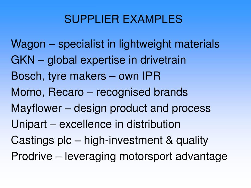 SUPPLIER EXAMPLES