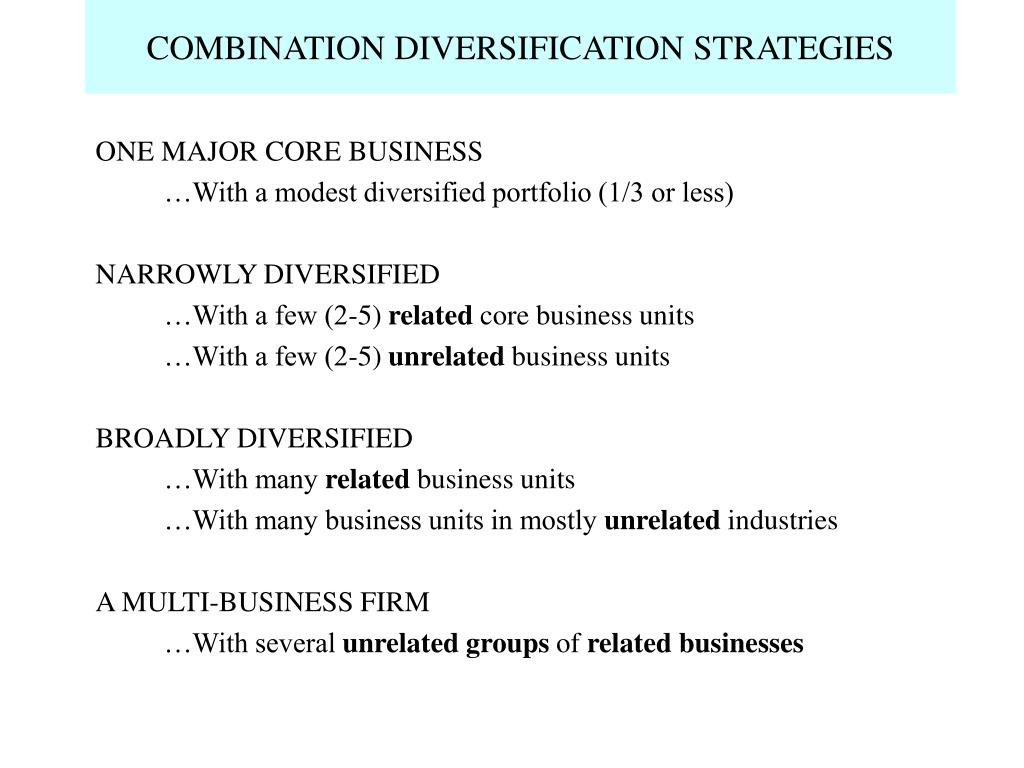 COMBINATION DIVERSIFICATION STRATEGIES