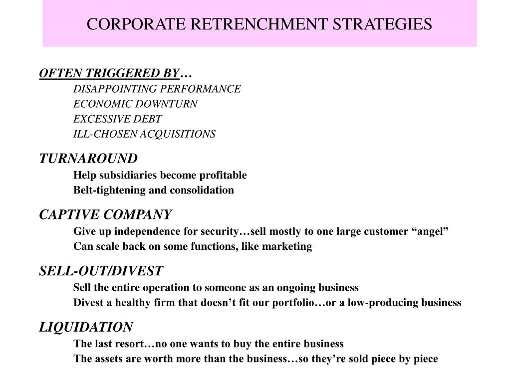 CORPORATE RETRENCHMENT STRATEGIES