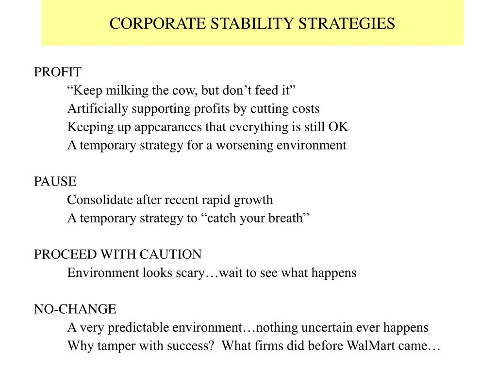 CORPORATE STABILITY STRATEGIES