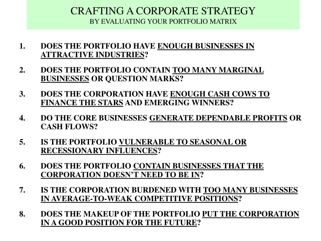 CRAFTING A CORPORATE STRATEGY