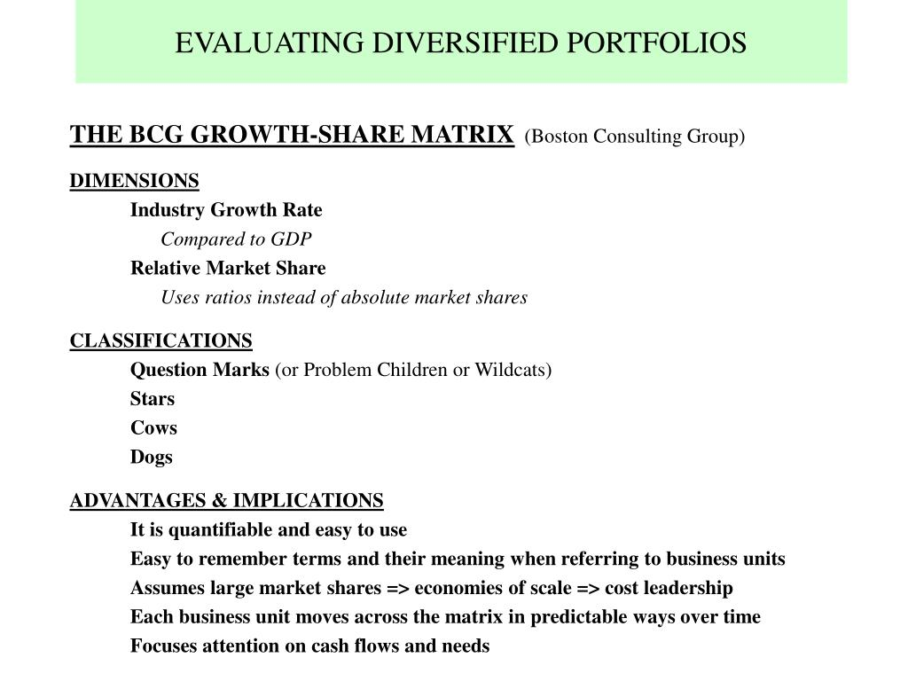 EVALUATING DIVERSIFIED PORTFOLIOS