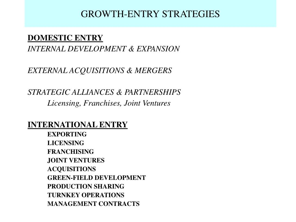 GROWTH-ENTRY STRATEGIES