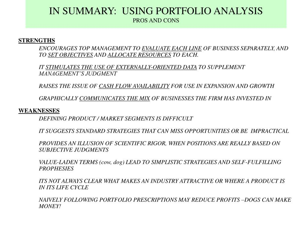 IN SUMMARY:  USING PORTFOLIO ANALYSIS