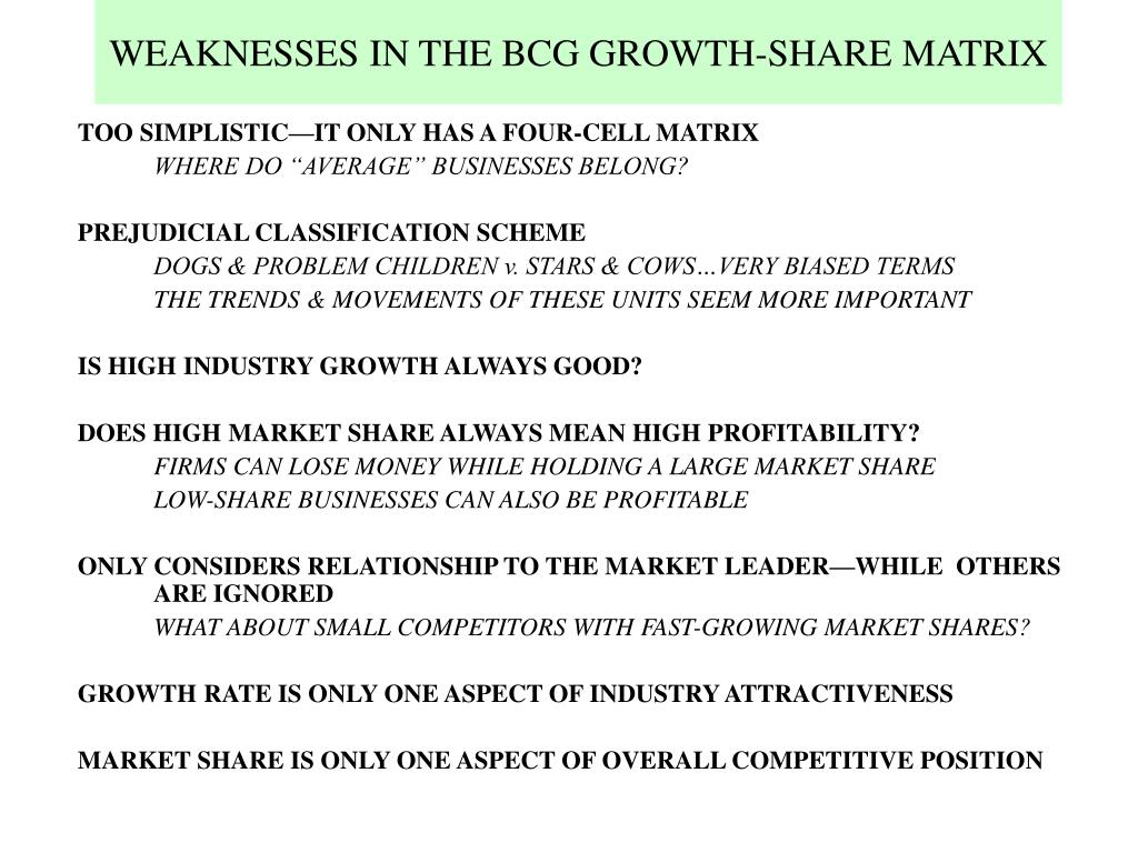 WEAKNESSES IN THE BCG GROWTH-SHARE MATRIX