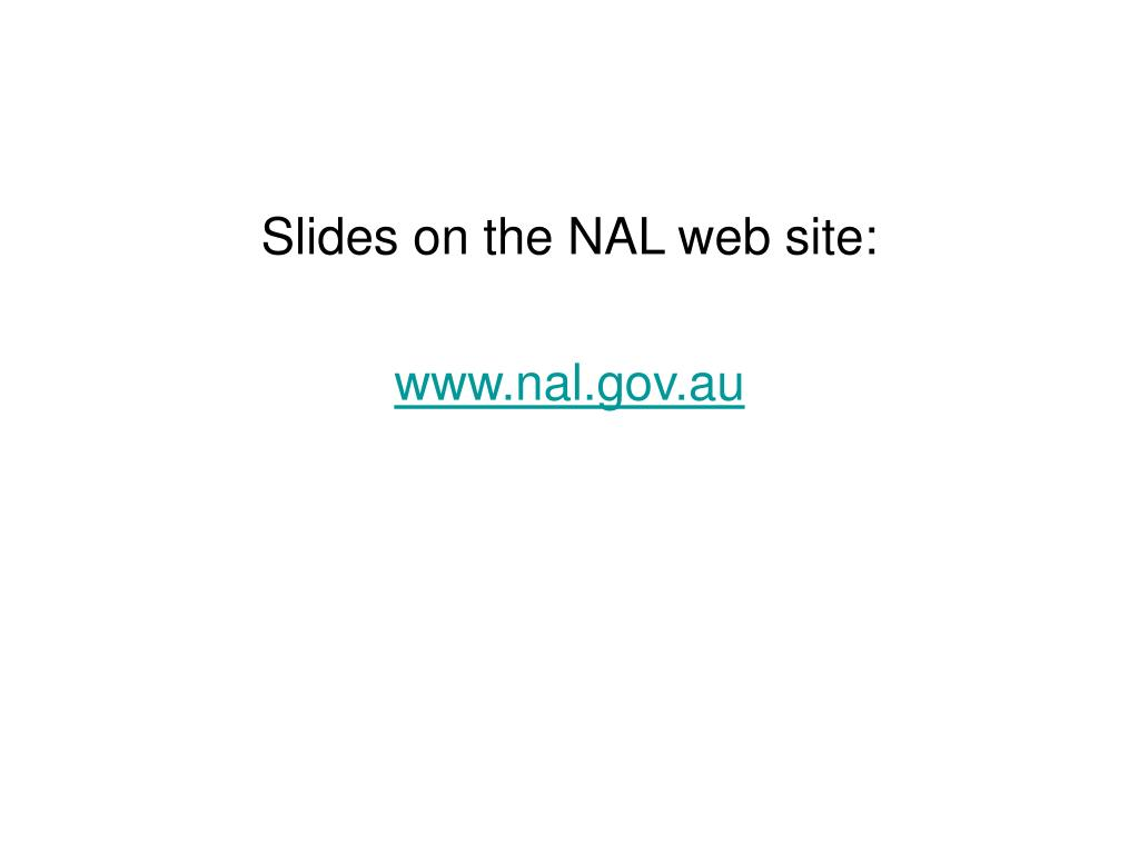 Slides on the NAL web site: