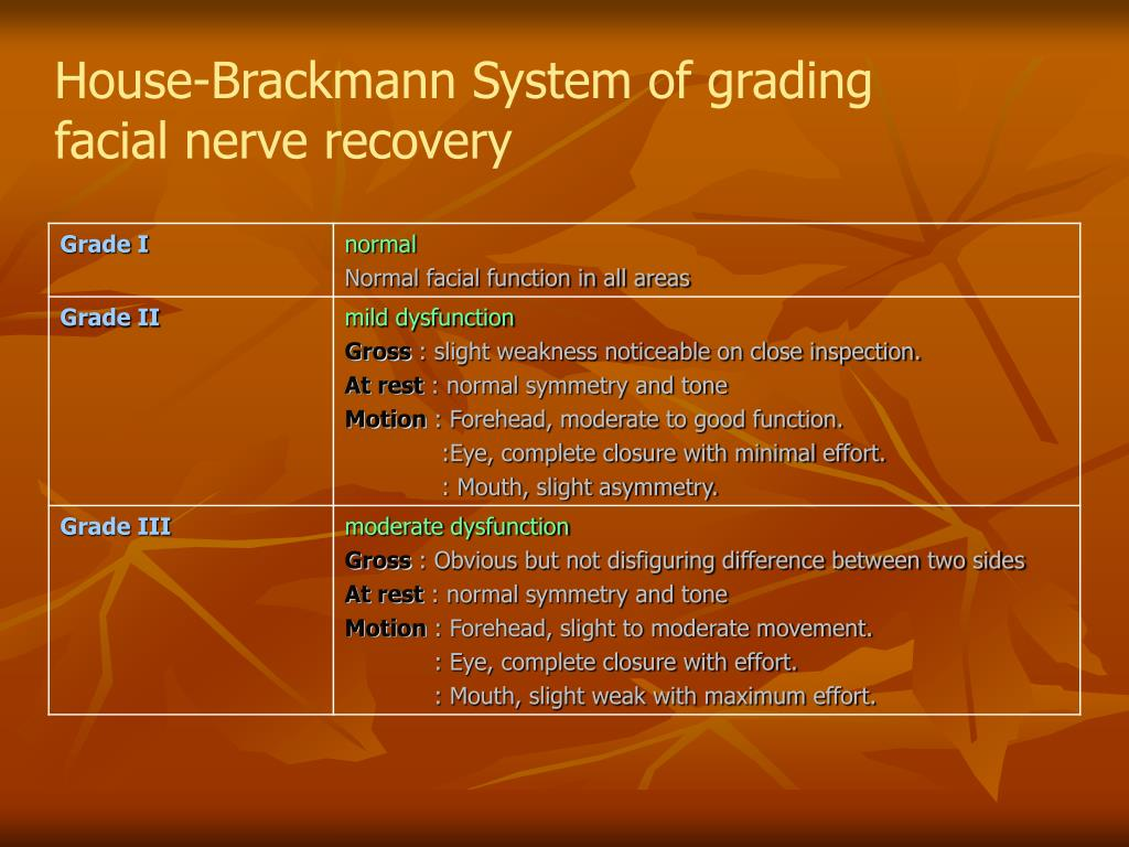 House-Brackmann System of grading