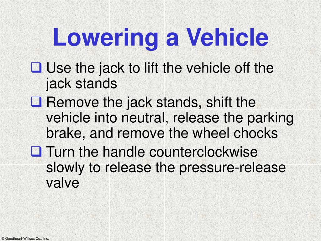 Lowering a Vehicle