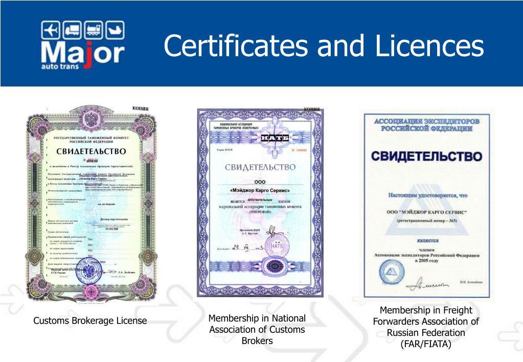 Membership in Freight Forwarders Association of Russian Federation (FAR/FIATA)