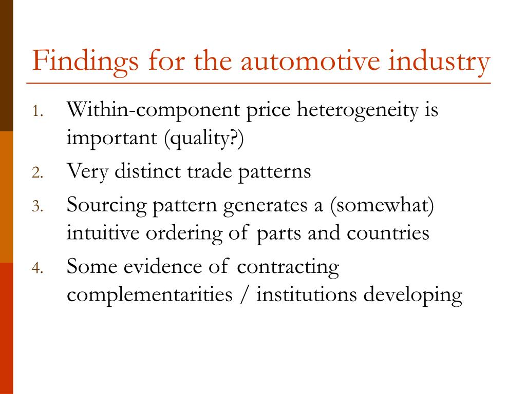 Findings for the automotive industry