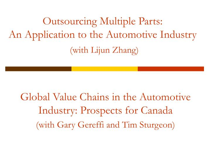 Outsourcing multiple parts an application to the automotive industry with lijun zhang