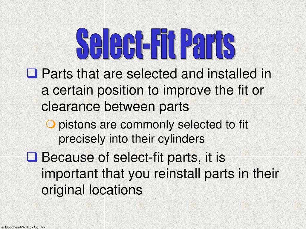 Select-Fit Parts