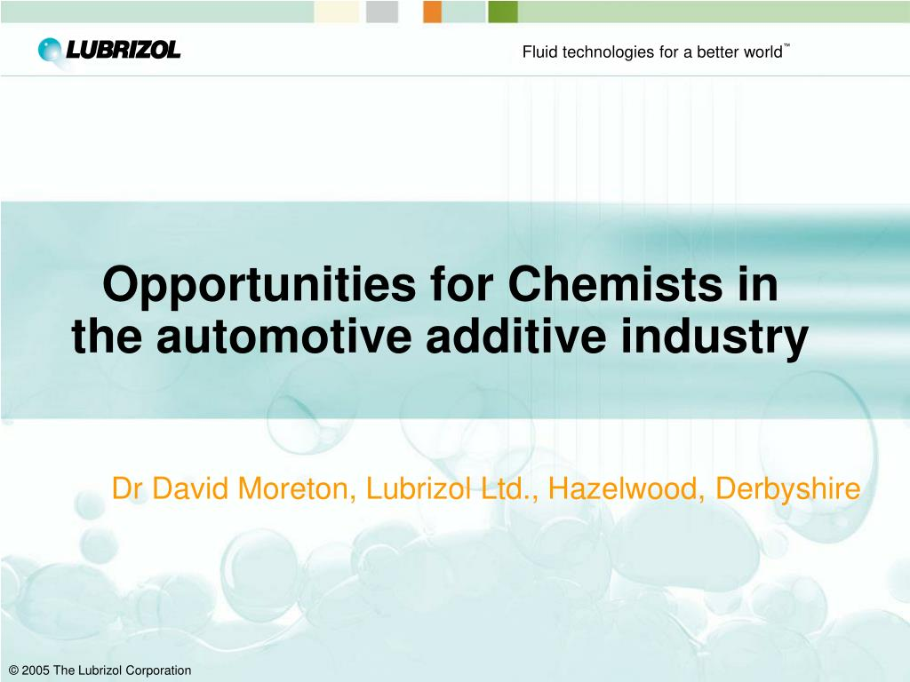 Opportunities for Chemists in the automotive additive industry