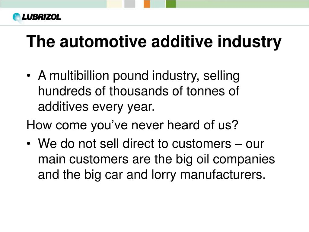 The automotive additive industry