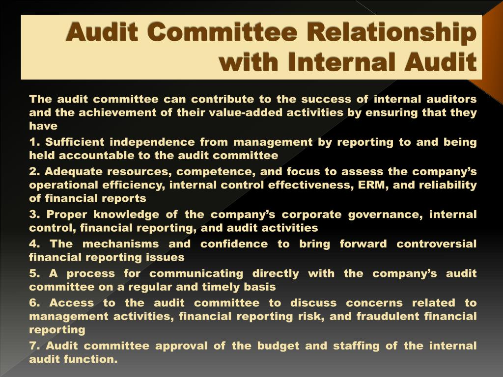 internal audit relationship with committee