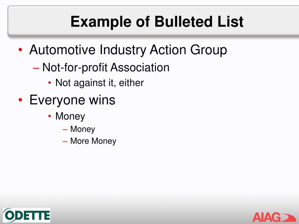 Example of Bulleted List