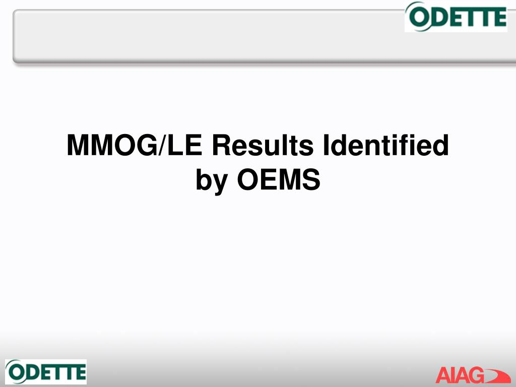 MMOG/LE Results Identified