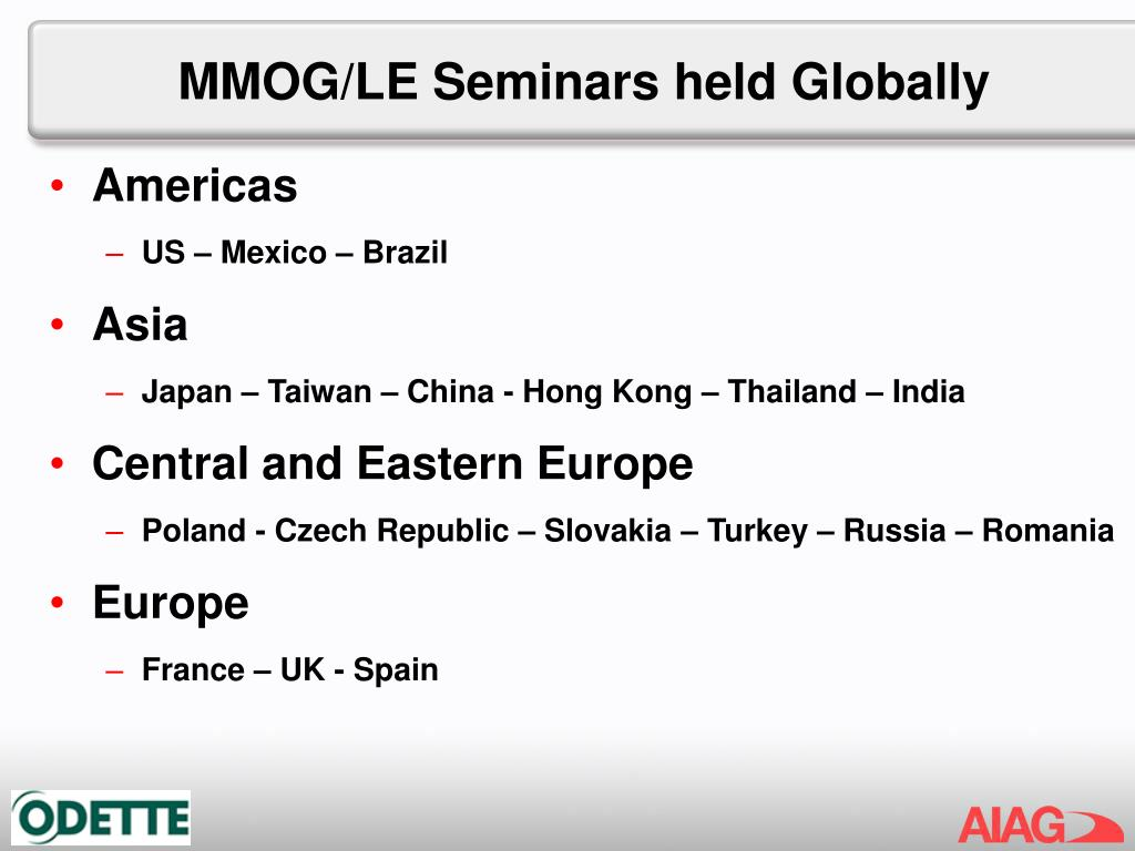 MMOG/LE Seminars held Globally