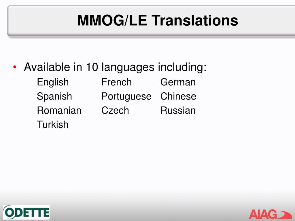 MMOG/LE Translations