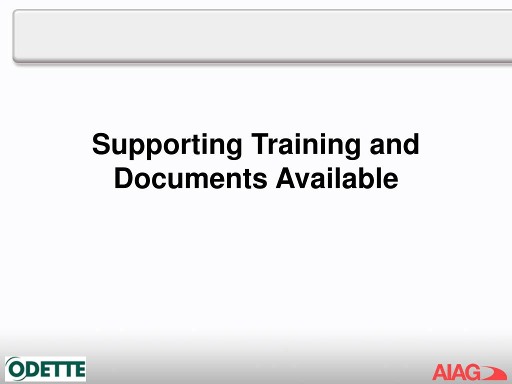 Supporting Training and Documents Available