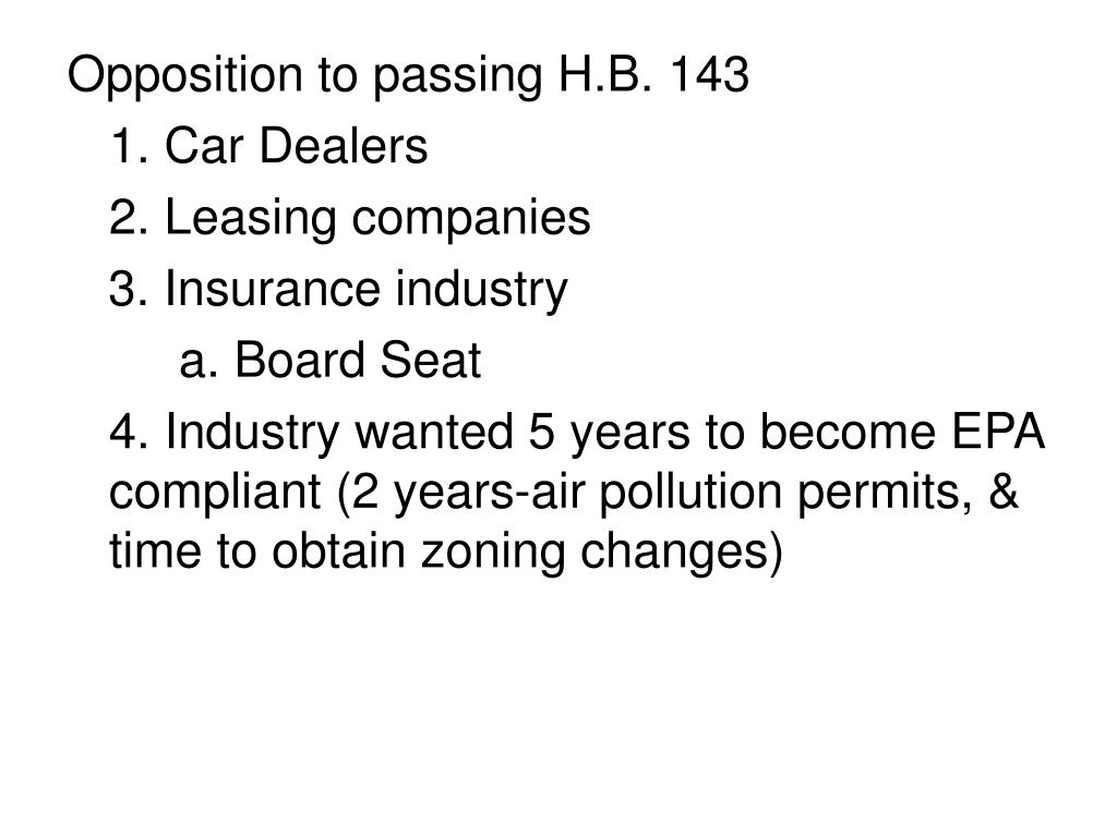 Opposition to passing H.B. 143
