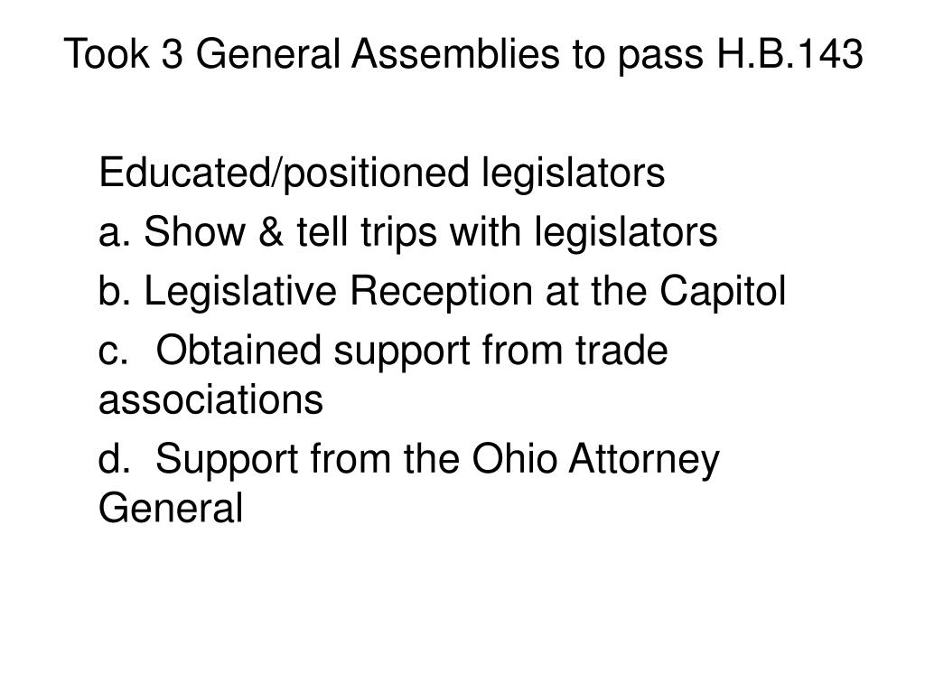 Took 3 General Assemblies to pass H.B.143