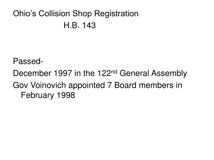 Ohio's Collision Shop Registration