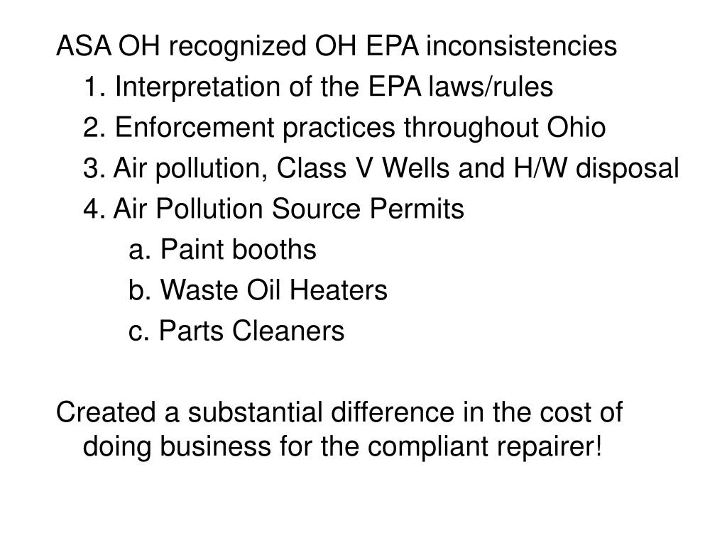 ASA OH recognized OH EPA inconsistencies