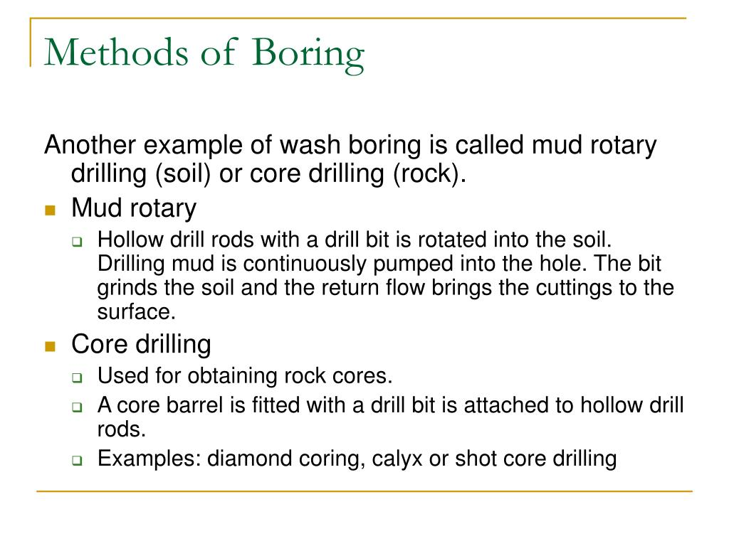 Methods of Boring
