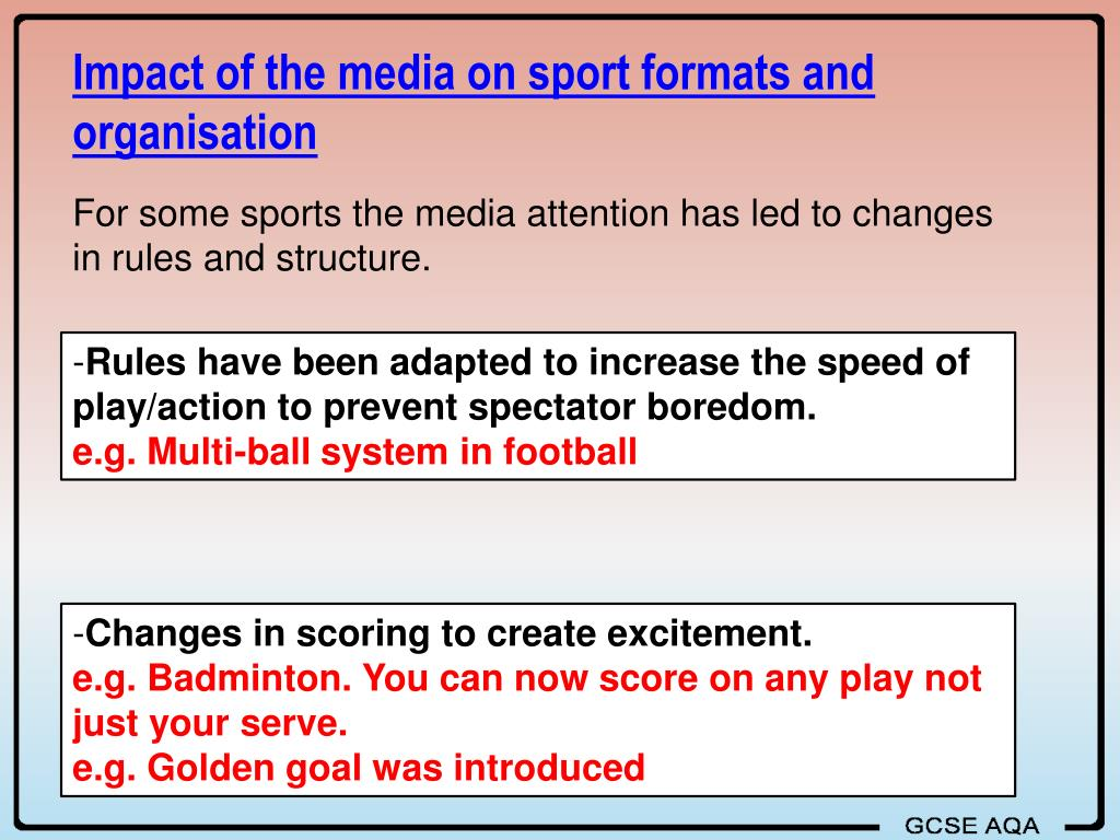 Impact of the media on sport formats and organisation