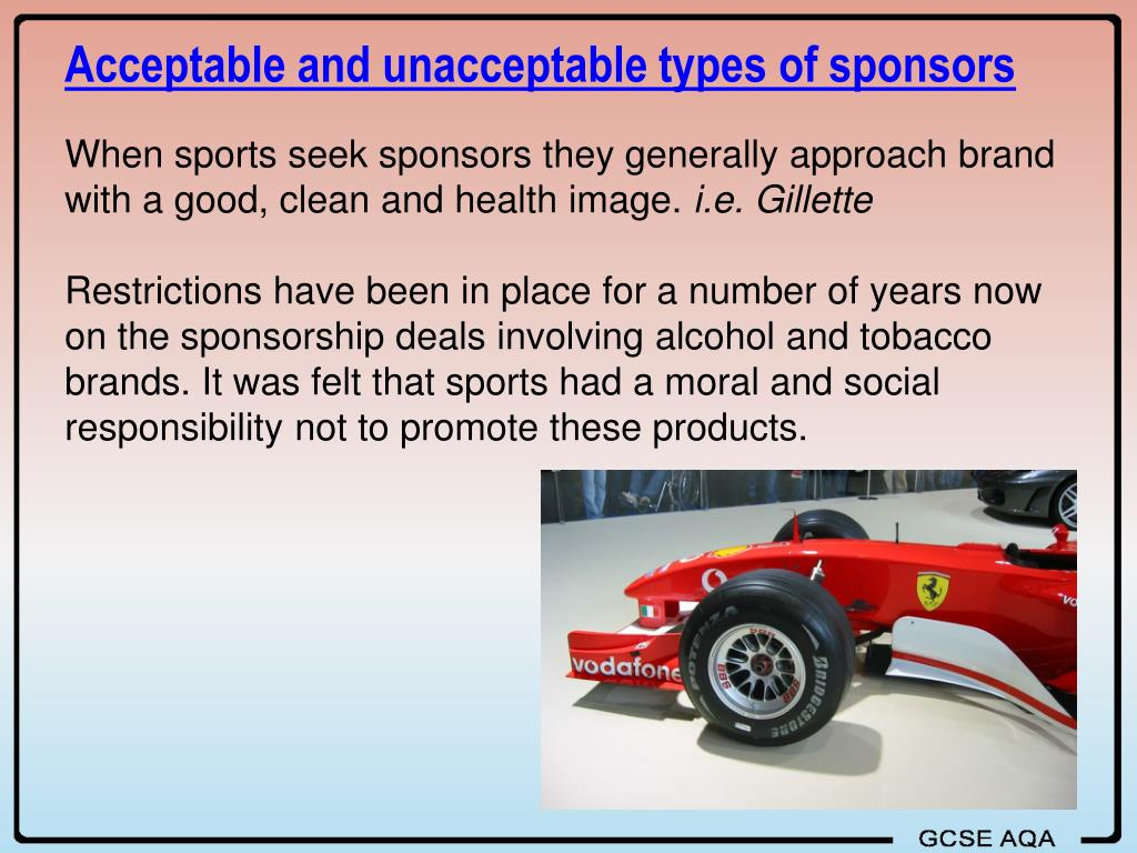 Acceptable and unacceptable types of sponsors